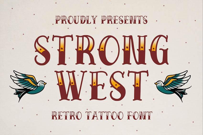 Strong West Retro Tattoo Script Font