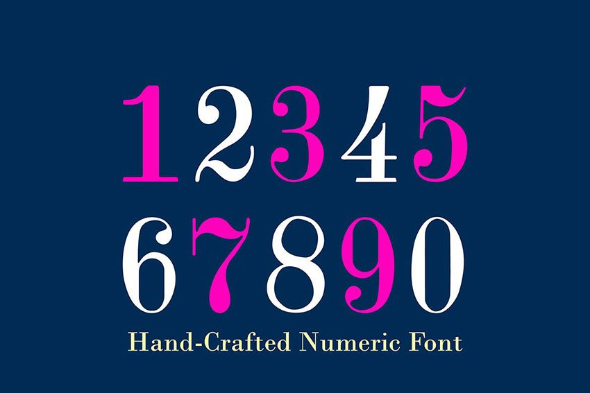 Didone Room Tattoo Number Font