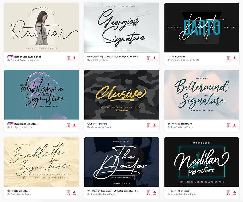 Enjoy unlimited downloads of the best signature fonts from Envato Elements.