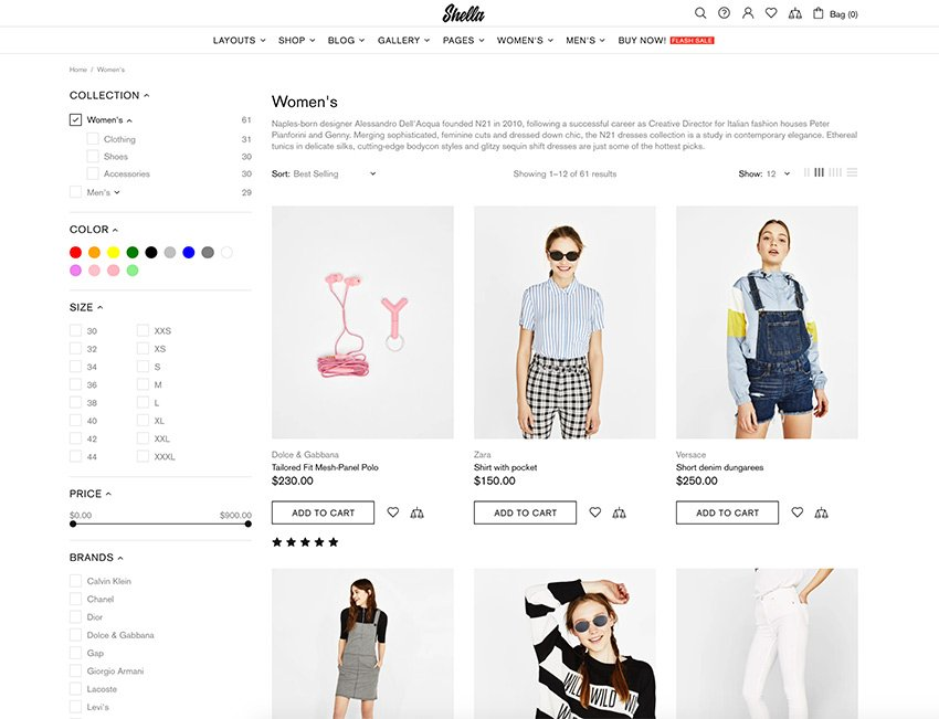 The Shella theme has detailed filtering options to facilitate the shopping experience.