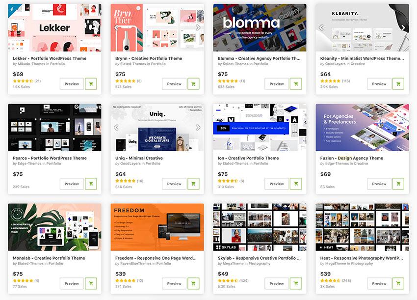 Top Graphic Design portfolio WordPress themes on ThemeForest for 2021.