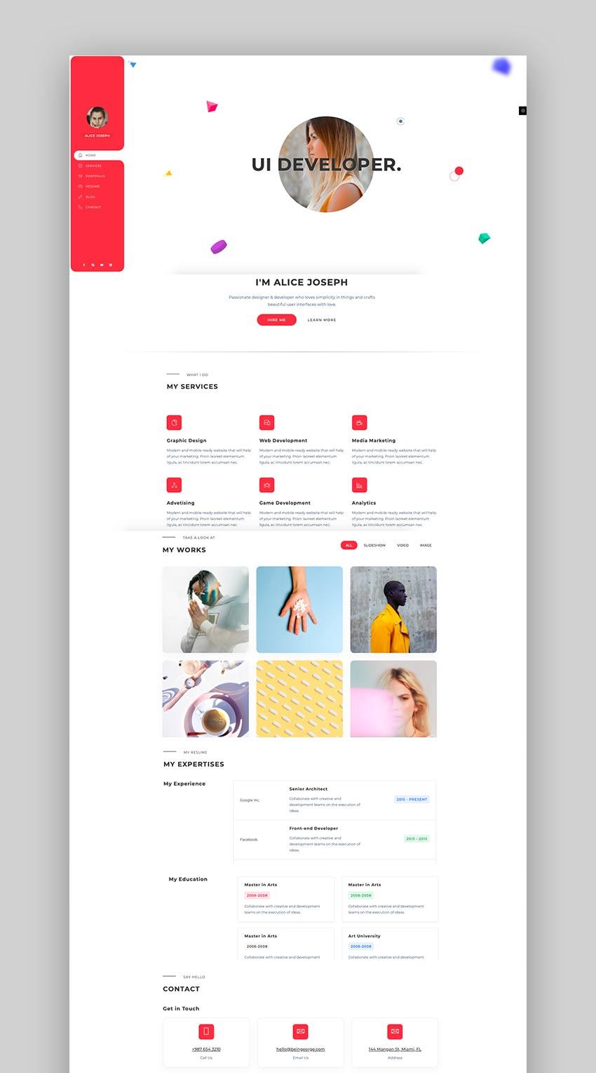 Tiffany - Modern Portfolio HTML Resume Code Template