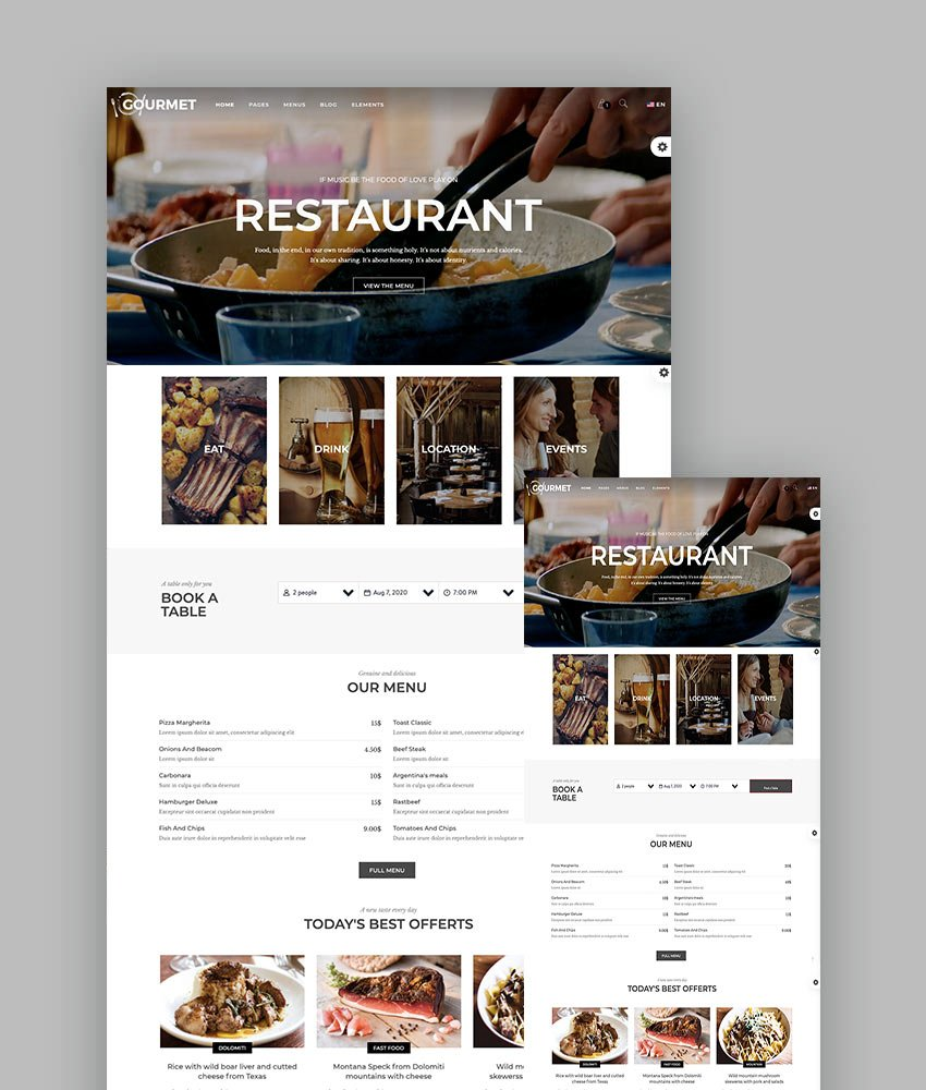 Gourmet - Restaurant And Food Template