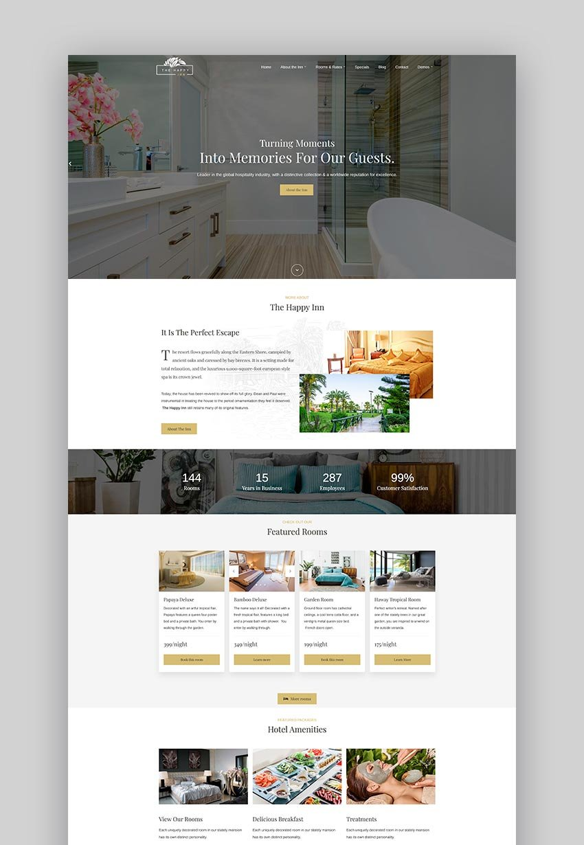 The Happy Inn - Bed and Breakfast WordPress Theme