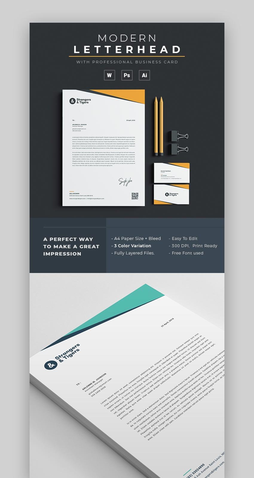21 Best Free Microsoft Word Corporate Letterhead Templates For Header Templates For Word