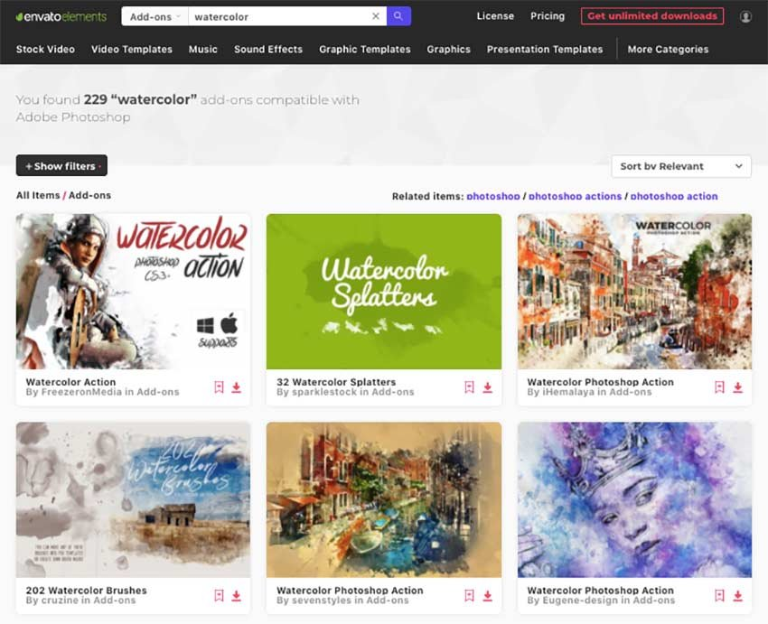 Get unlimited downloads of Adobe Photoshop watercolor effects in Envato Elements