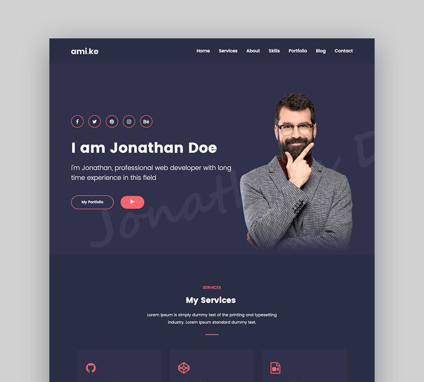 Amike - Personal Portfolio WordPress Theme
