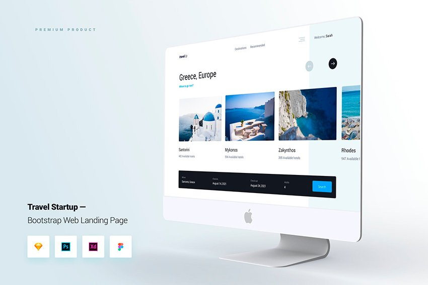 Travel Startup Bootstrap UI Kit