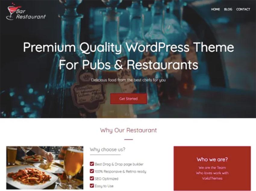 Bar Restaurant Free WordPress Wine Theme