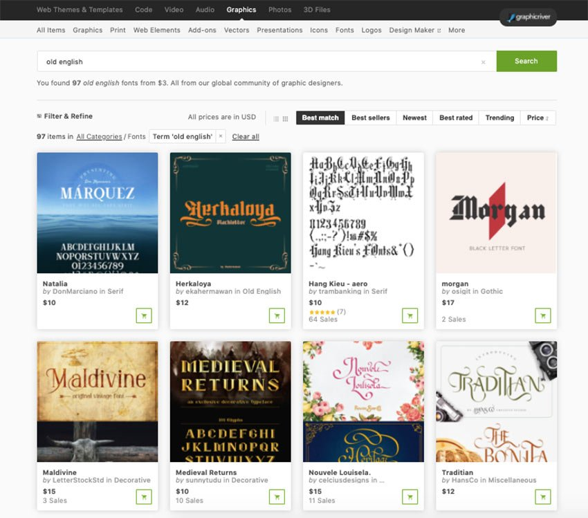 Visit our Envato Market to buy single old english style fonts