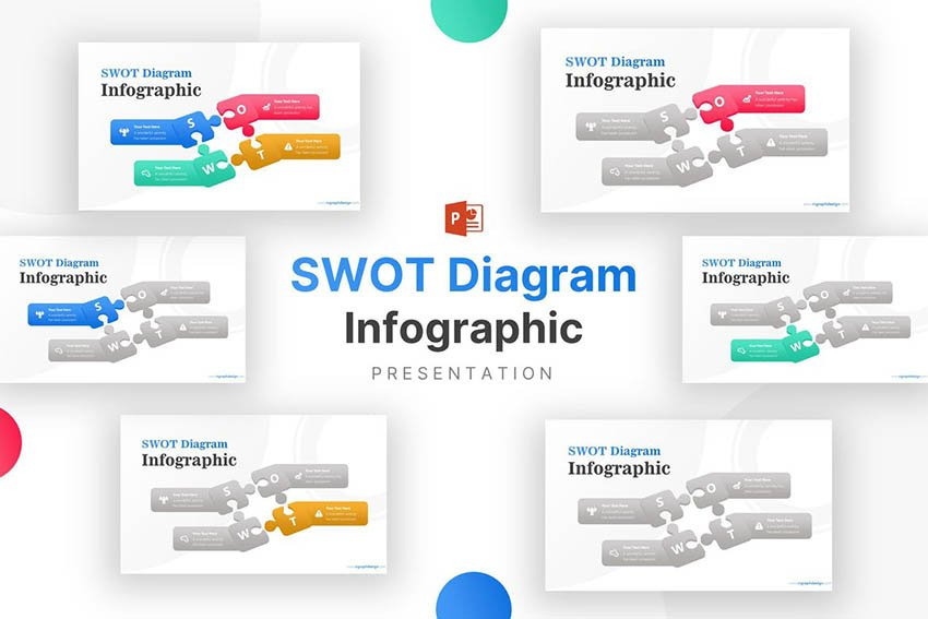 Puzzle SWOT for Business Strategy Infographic