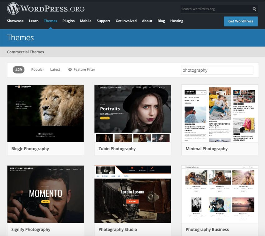 WordPress photography themes free to try in 2021