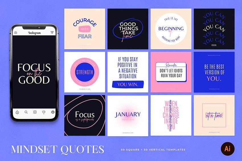 This Instagram theme from Envato Elements follows some top Instagram aesthetic ideas for 2021.
