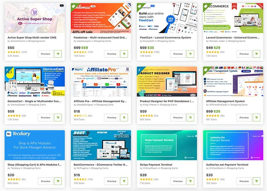 The best PHP shopping carts are on CodeCanyon.