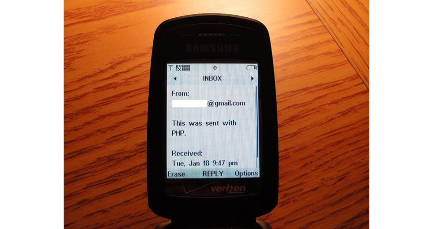 PHP Email to SMS Tutorial PHP Send SMS Example