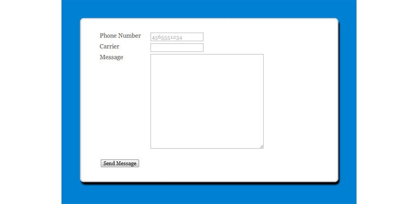 Send Free SMS to PHP Tutorial Form