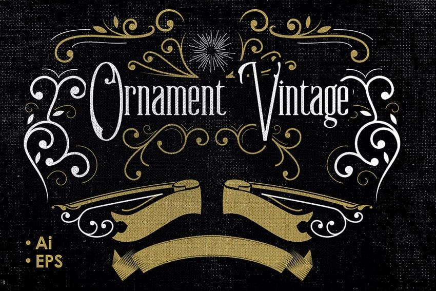 Vintage Flourish Vector Ornaments