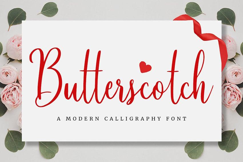 Butterscotch Cursive Calligraphy Writing Fonts