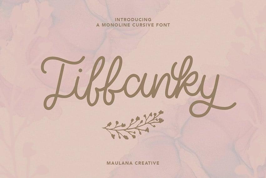 Tiffanky Monoline Fancy Cursive Script Font