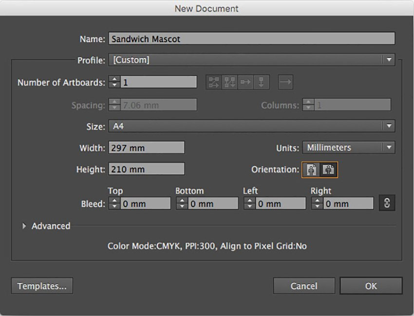 Mascot Character Design Tutorial sandwich mascot adobe illustrator A4 size landscape character orientation print document