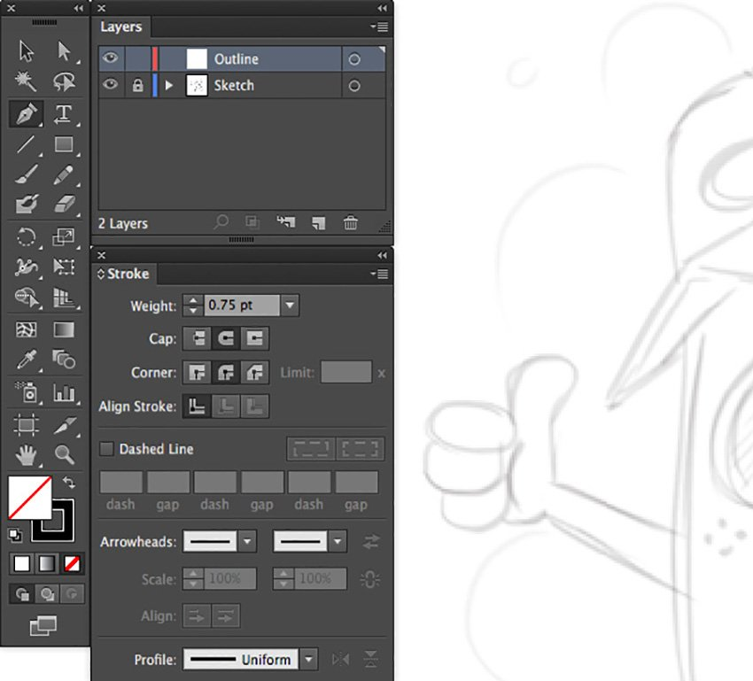 Mascot Logo Design Tutorial adobe illustrator outline sketch weight stroke cap corner uniform profile