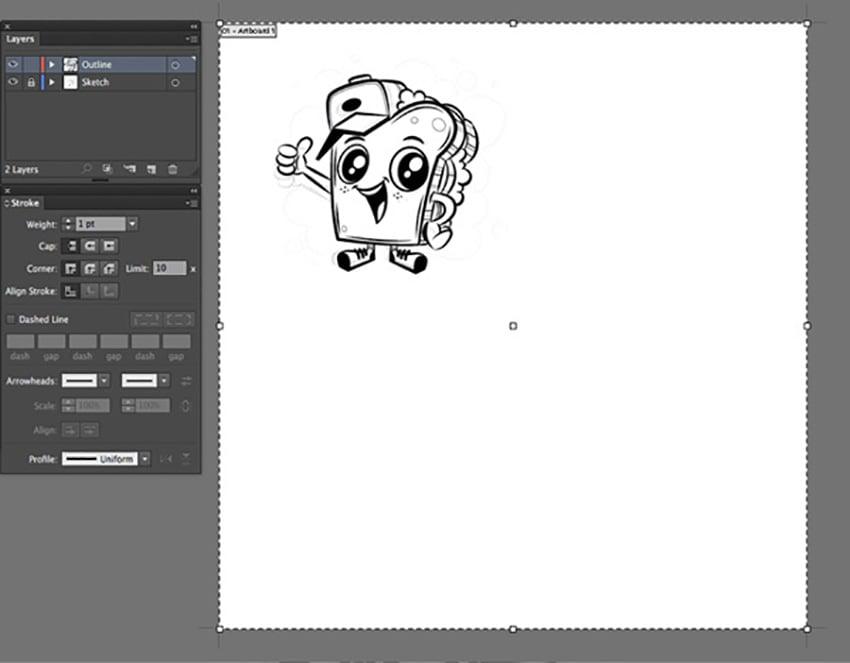 Digital Mascot Design Tutorial file document artboard setup expand mascot versions display