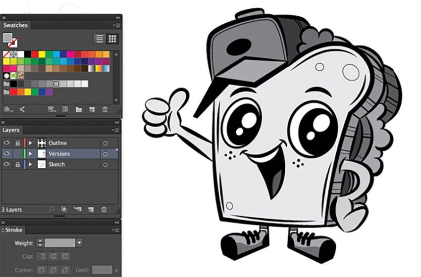 Logo and Mascot Design Tutorial swatches panel pen tool grey tones mascot grey scale mascot adobe illustrator