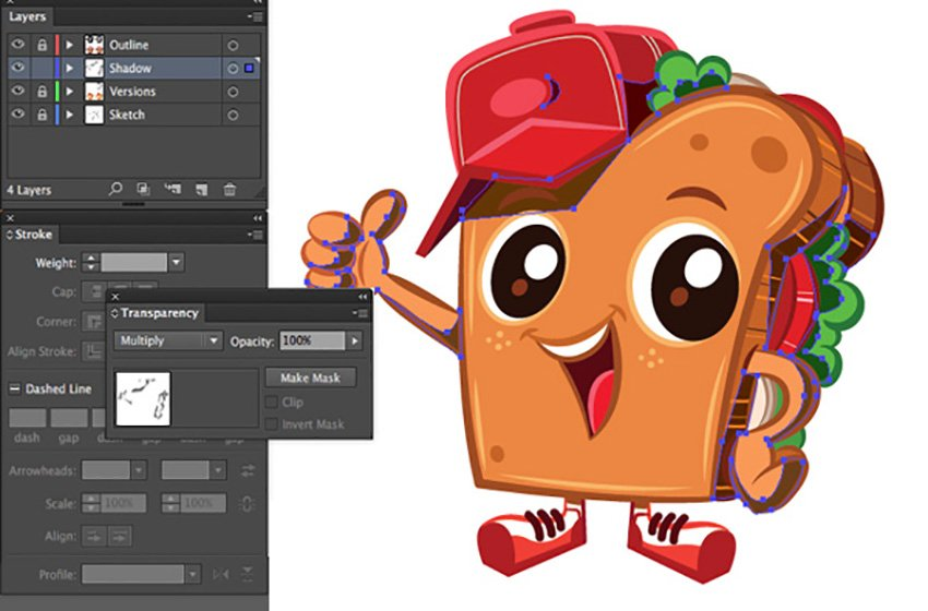 Mascot Design Tutorial adjust transparency and blending mode options