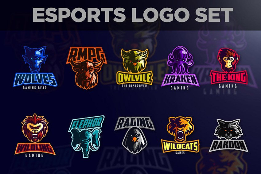 Esports Animals Mascot Gaming Logo Set
