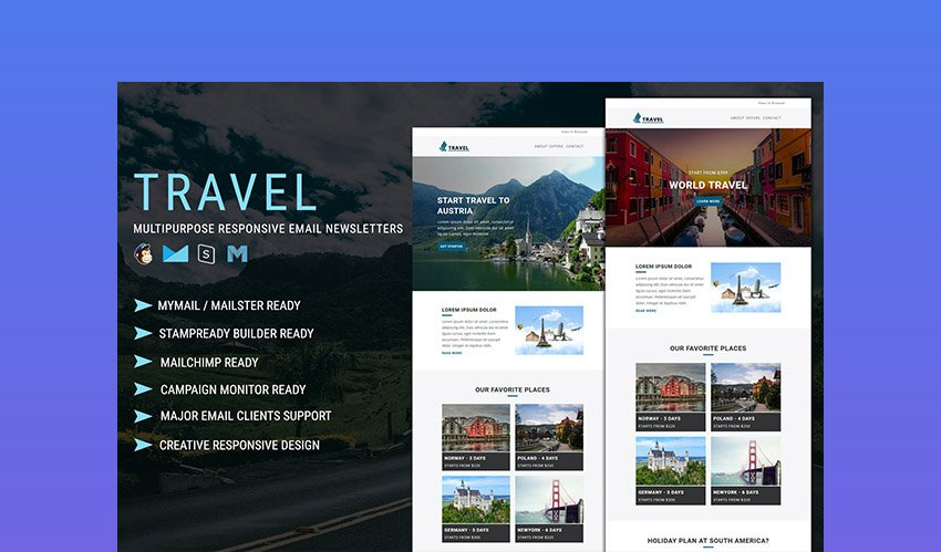 Travel Multipurpose Mailchimp Newsletter Example