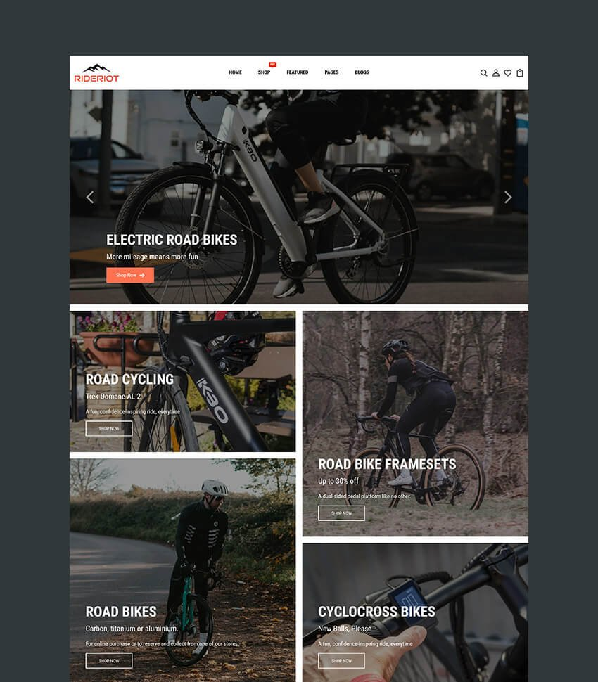 Rideriot Best Theme for Shopify Bike Shop
