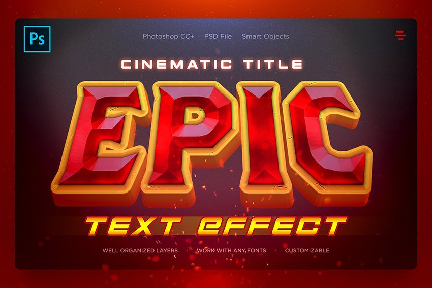 Epic Cinematic Aesthetic PSD Text Effect Photoshop