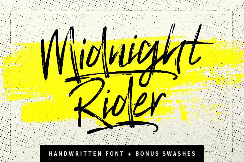 Midnight Rider Handwritten Brush Script Font