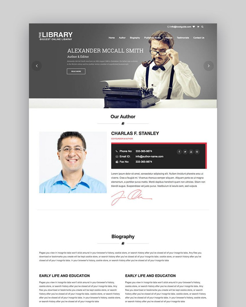 Book Guide Author WordPress eBook Store Template