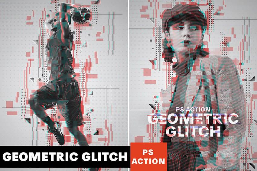 Geometric Glitch Photoshop Action Download