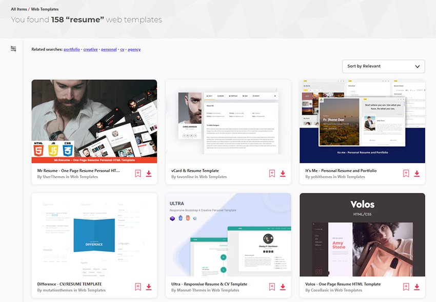 The Best HTML Personal Resume Website Templates on Envato Elements