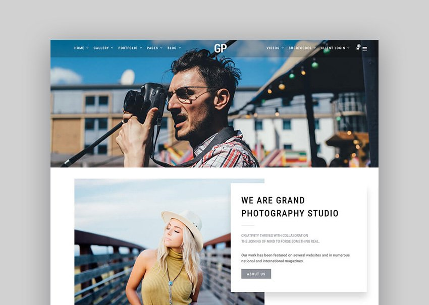 GrandPhotography Clean WordPress Theme Website Design