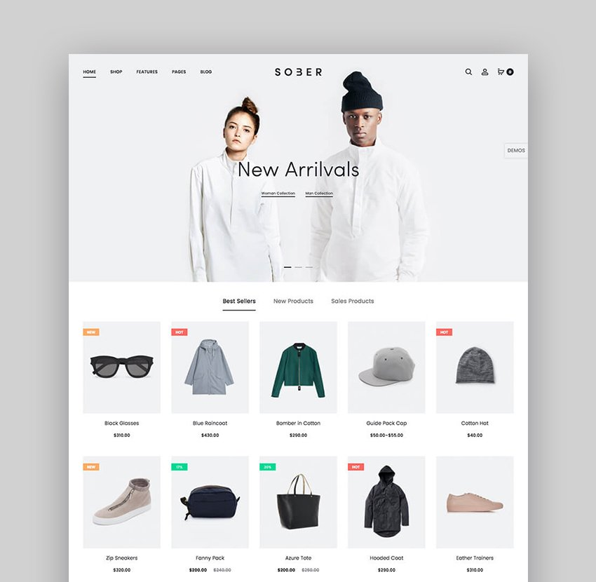 Sober Minimal WooCommerce WordPress Theme With Modern Web Design