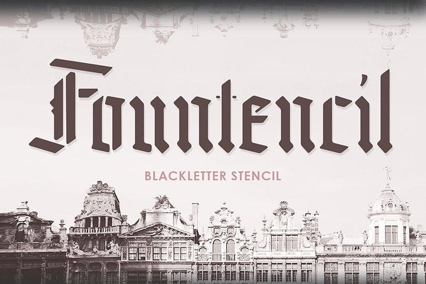 Fountencil Blackletter Script Stencil Font