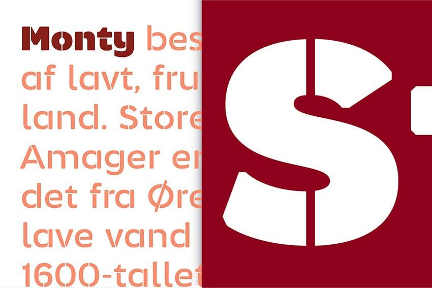 Monty Stencil Typeface