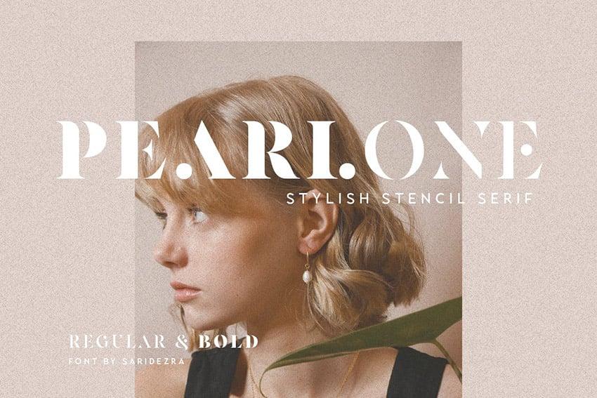 Pearlone Stencil Letters Font
