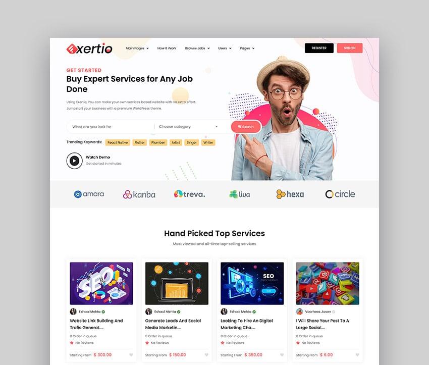 Exertio Freelance Job Finder WordPress Theme
