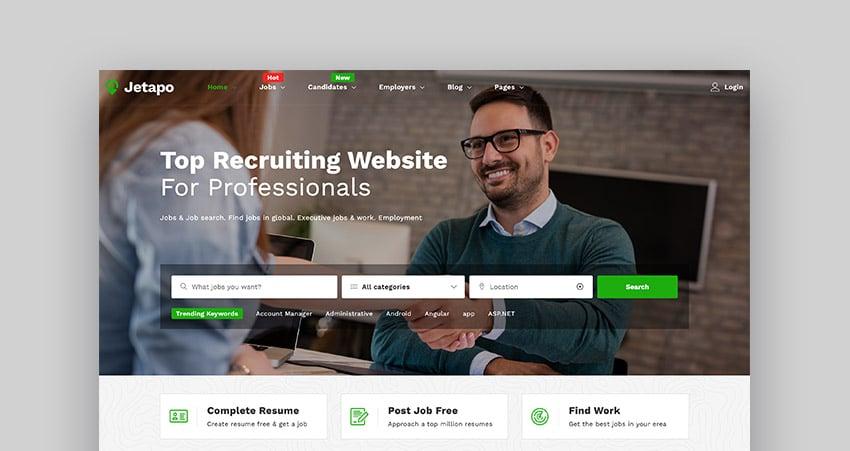 Jetapo multipurpose job board WordPress theme