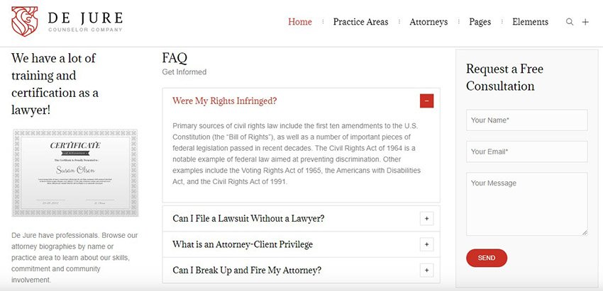 De Jure Lawyer WP Theme Consultation Form
