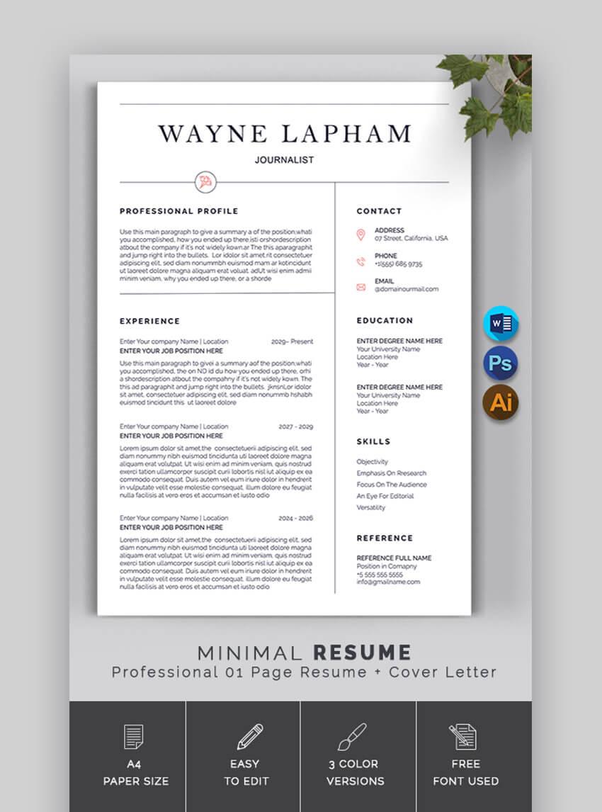Sime Resume CV Template Photoshop PSD