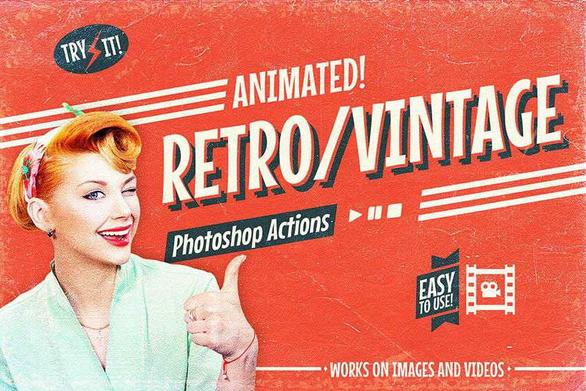 Animated Retro Vintage Effect Photoshop Action