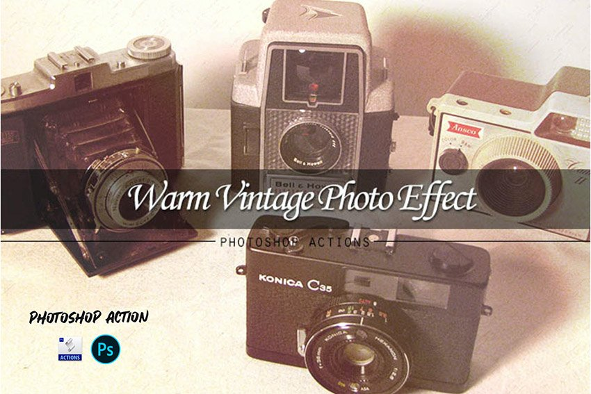 Warm Vintage Photo Effect Photoshop Action