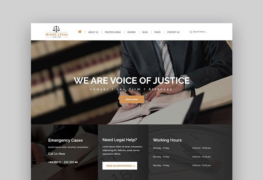 Miako Responsive HTML Law Firm Website Template