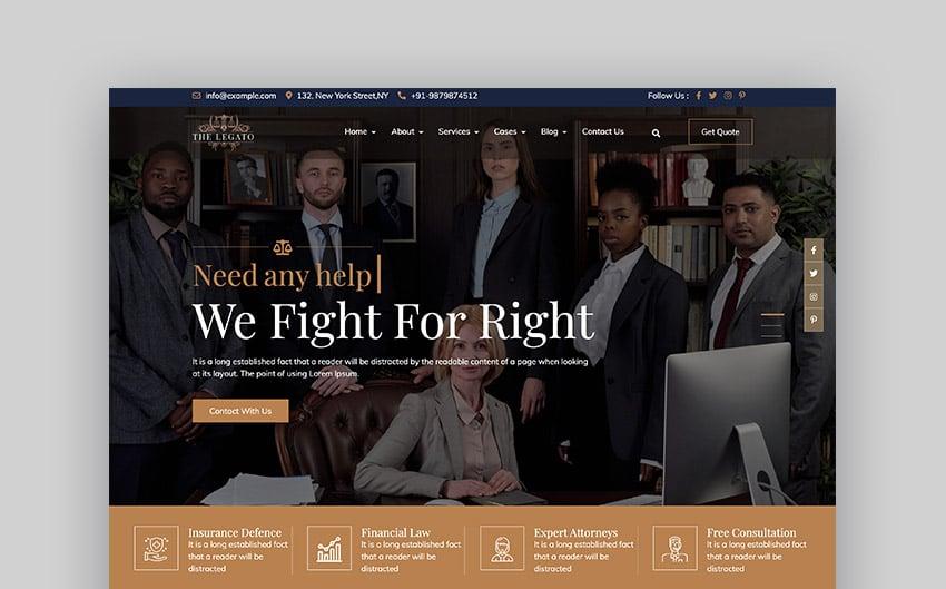 Legato Lawyer Advocate Website Template