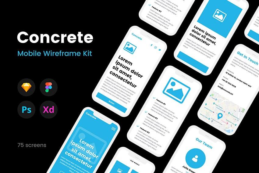 Concrete Sketch Wireframe Kit